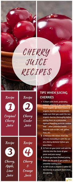 Everything you need to know about how to make Cherry Juice including tasty recipes. Find out more today via The Juice Chief. Fresh Juice Recipes, Healthy Juice Recipes, Juicer Recipes, Healthy Juices, Healthy Drinks, Smoothie Recipes, Smoothies, Healthy Food, Fruit Juice
