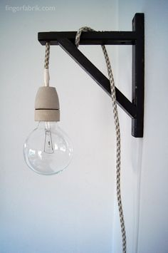 Materials: Valter Shelf Holder, Textile Cable, Porcelain Bulb Holder, Large Bulb, Spray Paint Description: Cable Lamp from a Valter shelf holder. I want inredning DIY Cable Lamp from a Valter Shelf Holder - IKEA Hackers Ikea Hackers, Luminaria Diy, Diy Furniture Building, Furniture Redo, Furniture Vintage, Office Furniture, Furniture Design, Diy Luminaire, Shelf Holders