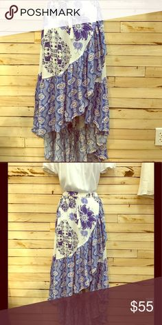 Bohemian plus skirt Beautiful bohemian floral pattern ruffle skirt with elastic waist. Skirts Maxi