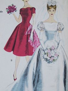 Wedding Gown and Bridesmaid Dress with Headdress and by dariasdigs, $65.00