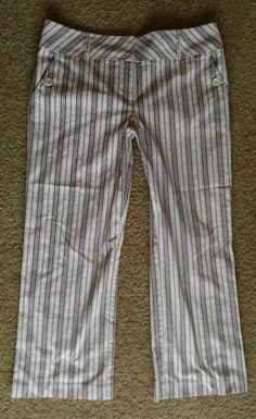 Ann Taylor Loft Pants Multi Color Stripe Cropped Cotton Blend Stretch Pants 10 #AnnTaylorLoftStretch #CaprisCropped
