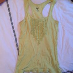 Lime Green Tank w Ruffle Detail Lightweight racer back is perf for summer months. Old Navy Tops Tank Tops