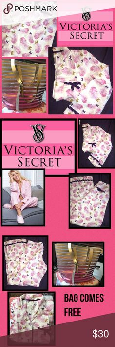 Victoria Secret Flannel PJ'S 2 Piece L/S Pants SM Victoria Secret Flannel PJ'S 2 Piece L/S Pants SM NWOT comes with free tote by VS. Product Details The cozy, lightweight flannel PJ you love is better than ever with an easy, comfy fit and modal for a hint of stretch, washed for extra softness. Comes with matching eye mask. Easy fit Cozy, lightweight flannel for warmth without the weight Long-sleeve top with notch  Pant with drawstring elastic waist and piping Imported cotton/ Short/petite…