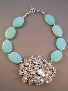 Statement Necklace - love the contrast in materials.