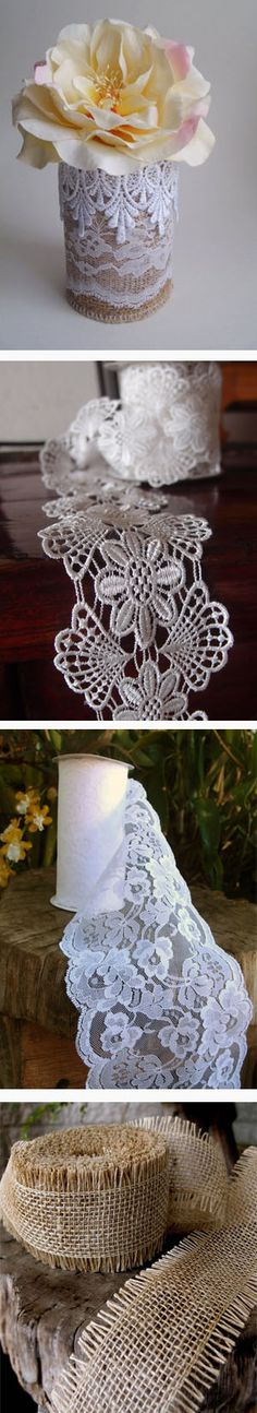 burlap and two laces on a a tin can Burlap Lace, Lace Ribbon, Lace Bag, Table Overlays, Lace Table Runners, Lace Decor, Lace Doilies, Beaded Trim, Wedding Vintage