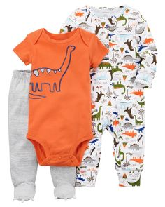 Featuring a coordinating soft cotton bodysuit, footed pants and sleep & play, he's cozy from day to night!