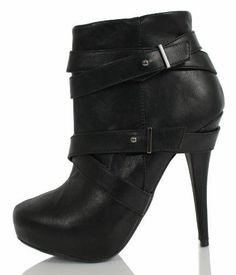 Black Faux Leather Strappy Platform High Heel Ankle Boot $26.99 - more → http://tiffanyfashionstylist.blogspot.com/2012/05/black-faux-leather-strappy-platform.html