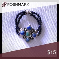 Beaded stretch Ring Blue beaded with silver detailed stretch ring. Never worn Jewelry Rings