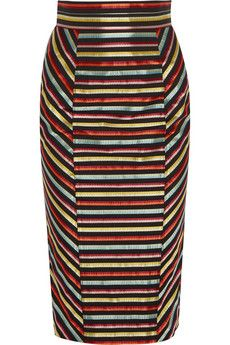 Striped canvas and silk pencil skirt