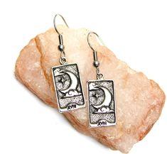 Moon Tarot Card Earrings - sun and moon - tarot earrings - silver tarot - astrology, celestial, bohemian earrings