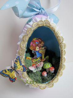 OOAK Easter Egg Diorama Ornament - Vintage Style Papier Mache - Panorama Shadowbox - Sugar Egg Keepsake Decor - Victorian. $46.00, via Etsy.
