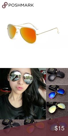 NEW✨ Gold with Yellow Gold Mirrored Sunnies Gold with Yellow Gold Mirrored Aviator Sunnies✨ NEW✨  🔸Brand New✨ 🔸PRICE IS FIRM- already listed at lowest price  🔸If you want to save please look into bundling  🔸Purchases with 2 or more items bundled will receive a FREE gift😍 🔸In Stock  🔸No Trades 🔸Will ship same day as long as order is received by 1:00pm PST Accessories Sunglasses