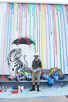 """Michael Summers """"Catnap"""" mural in Carlsbad, CA, inspired by the painting of the same name #mural #catnap #tiger #art"""