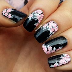 Black nail art designs can instantly add glamour to your look. We have collected all different type of black nail art designs you will surely love to try. Flower Nail Designs, Black Nail Designs, Flower Nail Art, Cute Nail Designs, Acrylic Nail Designs, Floral Designs, Pedicure Designs, Rose Nail Art, Fancy Nails