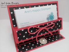 Ann's Happy Stampers: Beautiful Business card/Post it note holder using Pop Of Pink DSP