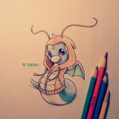Photo by itsbirdy: #dratini wearing a #dragonite hoodie. K, for reals I needa change it up haha. Too much #pokemon #art and not enough of the other stuff :) portraiture for tommorrow #drawing #sketch #crayola