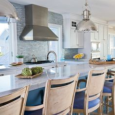 Beachy Blue Kitchen - 5-Star Beach House Kitchens - Coastal Living