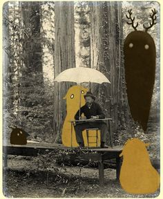 GREEN INK  Illustration - sepia - Collage - Photography - Mixed Media - Art - forest spirt - umbrella )
