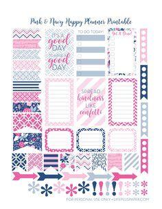FREE Pink & Navy Happy Planner Printable by LifePlusPaper.com
