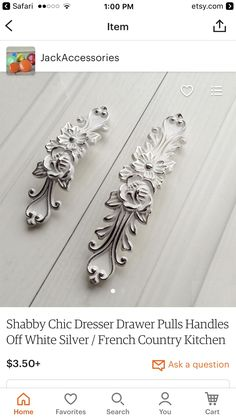 shabby chic dresser drawer pulls handles off white silver french country kitchen cabinet handle pull antique furniture hardware