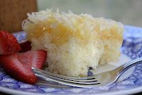 White cake with pineapple coconut icing