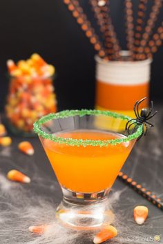 Happy Halloween with this adult candy corn infused martini!  It's a treat and no trick!
