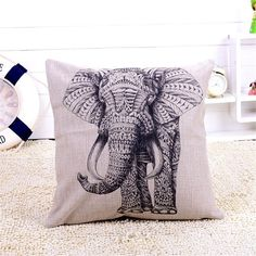 Amazon.com - HomeTextilesArt Cartoon Animal Style Abstract Elephant Throw Pillow Case Decor Cushion Covers Square 18*18 Inch Beige Cotton Blend Linen -