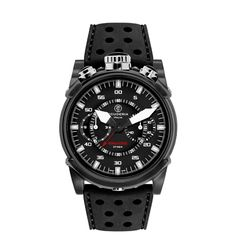 CT Scuderia / Black IP Stainless Steel and Black Silicon Strap