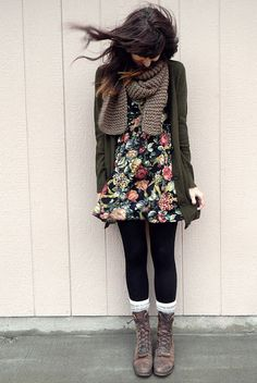 Knit scarf, cardi and boots is probably the easiest way to transition your summer floral dress into fall.