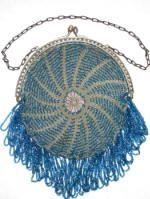 vintage spiral knit beaded purse