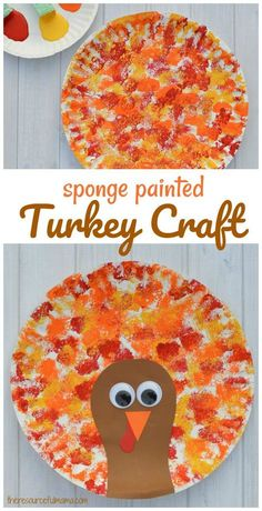 Sponge Painted Thanksgiving Turkey CraftThis Thanksgiving Turkey Craft uses a fun sponge painting technique for paper plates to paint the feathers of Turkey that kids will love.Pinecone Painting & Thanksgiving Turkey Craft - No time Thanksgiving Crafts For Kids, Thanksgiving Turkey, Holiday Crafts, Fun Crafts, Thanksgiving Decorations, Kindergarten Thanksgiving Crafts, Thanksgiving Cookies, Creative Crafts, Decor Crafts