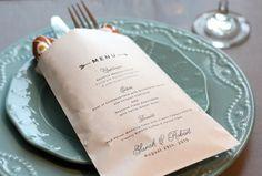 Wedding Menu Bag Personalized Wedding Reception by deaandbean