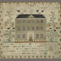"""Worked with a Georgian town house to the centre surrounded by plants and birds, alphabet and cautionary verse ' during the time of life allotted me, grant me good god my health and liberty, beg no more if more thou art pleased to give, I'll thankfully the over pius receive Catherine Skinner marked this in the eleventh year of her age 1793'. 38 wide, 36cm high (14.5"""" wide, 14"""" high)"""