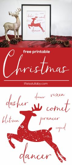 Free Christmas Printables like this cute Reindeer Free Printable Christmas Art, DIY home decor ideas, Christmas decorating ideas, easy Christmas crafts Christmas Wall Art, Noel Christmas, Christmas Signs, Christmas Projects, All Things Christmas, Winter Christmas, Holiday Crafts, Christmas Decorations, Christmas Banners