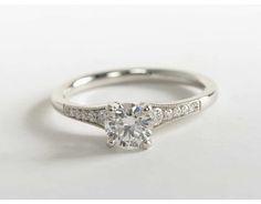 Love this | Graduated Milgrain Diamond Engagement Ring in Platinum (1/10 ct. tw.) Set with round 0.57 ct. Diamond (Color: E; Clarity: VVS2; Cut: Ideal) | Blue Nile
