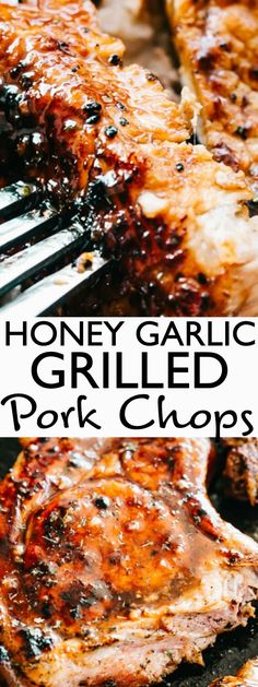 Grilled Pork Chops - How to make perfectly juicy and tender pork chops on the grill! A flavorful honey-garlic sauce makes all the difference and does wonders to keep your grilled pork chops both tender and juicy. Grilled Pork Chops - How Pork Chop Marinade, Marinated Pork Chops, Honey Garlic Pork Chops, Honey Garlic Sauce, Easy Pork Chop Recipes, Pork Recipes, Grilling Recipes, Grilling Ideas, Quick Recipes