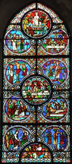 Chartres ~ Centre-Val de Loire ~ France ~ Notre Dame Cathedral ~ The Life of Christ Window Cathedral Windows, Church Windows, Stained Glass Art, Stained Glass Windows, Life Of Christ, France, Place Of Worship, Old Pictures, Scenery