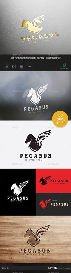 Pegasus Logo Template Vector EPS, AI. Download here: http://graphicriver.net/item/pegasus-/15007922?ref=ksioks