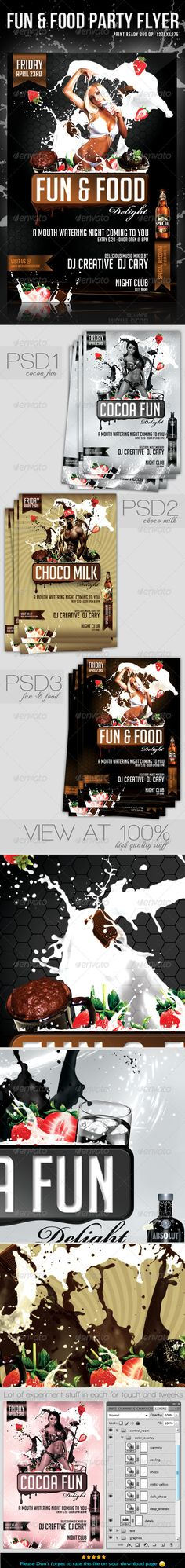 """Fun & Food Party flyer / template is a collection of 3 PSD files setup at 1275px x 1875px (4×6"""" with .25"""" bleeds) CMYK 300DPI"""