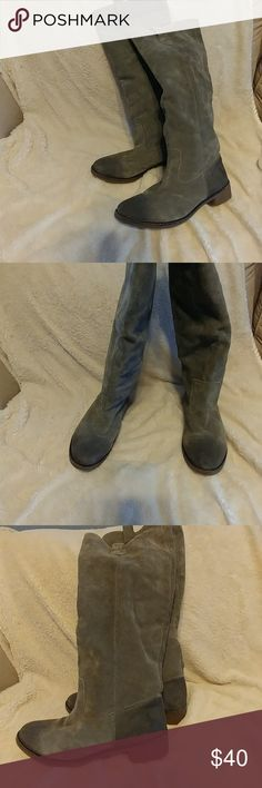 """Grey suede knee high boots Grey knee hit right above knee (I'm 5"""" 6""""). With a 19"""" height, they look great. There are some stains on front toe box. There are some boo boos..easy fix. All this reflected in price. MAC Cosmetics Intimates & Sleepwear Panties"""