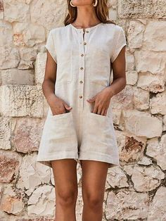 Plus Size Casual Jumpsuits Women Solid Short Sleeve Romper Jumpsuit – Jartini linen dresses linen rompers women jumpsuits for women rompers dressy jumpsuits casual rompers outfit jumpsuit fashion classy jumpsuits Homecoming Romper, Overall Shorts, Casual Jumpsuit, Jumpsuit Shorts, Rompers Dressy, Fitted Jumpsuit, Backless Jumpsuit, Jumpsuit Outfit, Romper Outfit