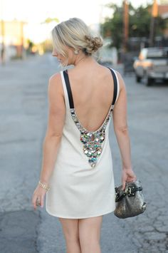 Jewel studded back..what a brilliant idea for a diy if you have the low back dress like this!!!