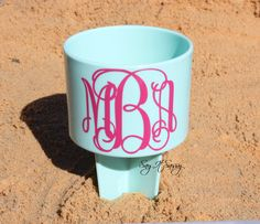 Personalized Sand Spikes Vine Monogrammed Sand Spiker - Beach Drink Holders Choose Your Color by SayItSassy on Etsy https://www.etsy.com/listing/218564856/personalized-sand-spikes-vine