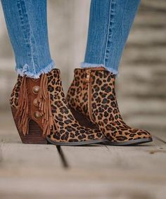 The Zenobia Cheetah Concho Fringe Bootie Wedge Booties Outfit, Fringe Booties, Black Booties, Bootie Boots, Shoe Boots, Ankle Boots, Mode Outfits, Fall Outfits, Fashion Outfits