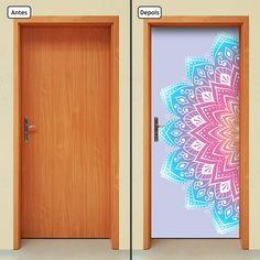 Adesivo Decorativo de Porta - Mandala - 252mlpt Renove seu ambiente com o adesivo de porta da Letto*, muito prático, rápido e sem sujeira. Produto autocolante, pronto para aplicação, sua porta de cara nova em questão de minutos. Adesivo na medida padrão de 210cm x 90cm. Se a porta for menor qu... Painted Bedroom Doors, Painted Doors, Mandala Pattern, Mandala Art, Zen Furniture, Rangoli Ideas, Cute Room Decor, Wall Drawing, Diy Door