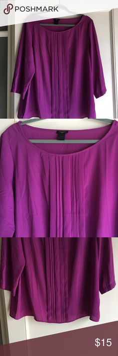 Ann Taylor blouse Plum silk Ann Taylor blouse with pleated front detailing.  Three quarter sleeves. Ann Taylor Tops Blouses