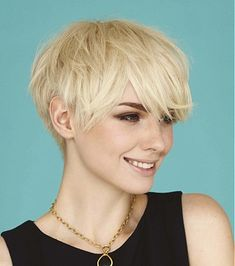 A Short Blonde straight coloured messy womens haircut hairstyle by Saks