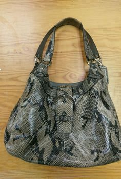 AUTH Coach 17419 Exotic Python Embossed Leather Hobo Shoulder Bag ~ BEAUTIFUL #Coach #ShoulderBagTote