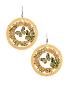 Circular Danglers With Charming Butterfly-cum Floral Theme