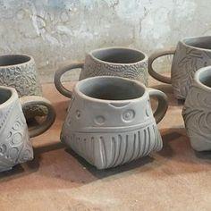 Slab built mugs - Lynn Wood (@potterytexturequeen) on Instagram